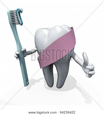 Molar Tooth With Arms And Toothbrush On Hand, Protected By Pink Ribbon
