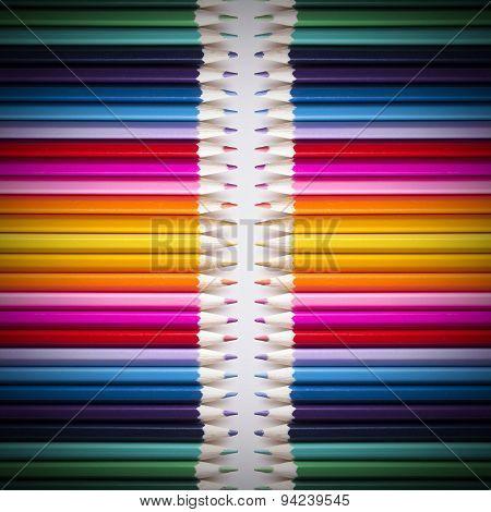 Bright Background Of Colored Pencils