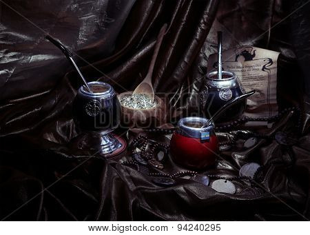 Yerba Mate And Calabashes, artistic still life,