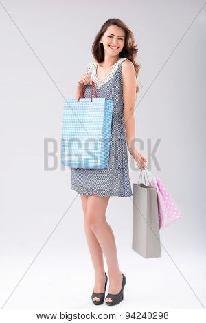 Brunette With Shopping Bags