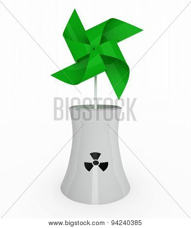 Green Pinwheel Over Nuclear Industry