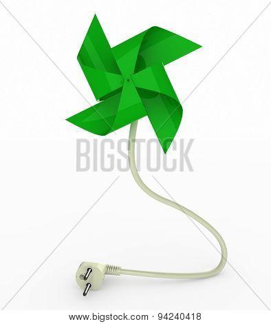 Green Pinwheel On Energy Plug Cable