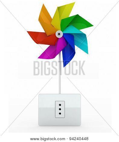 Multicolor Pinwheel Over Energy Plug