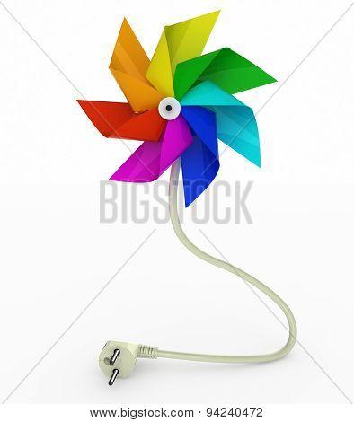 Multicolor Pinwheel On Energy Plug Cable