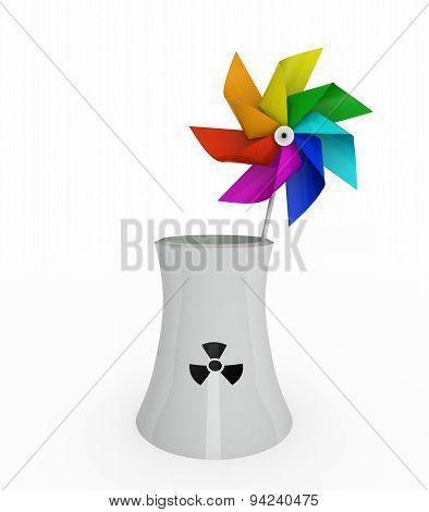 Rainbow Pinwheel Over Nuclear Industry
