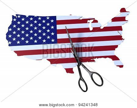 Map Of America Flag Cut By Scissors