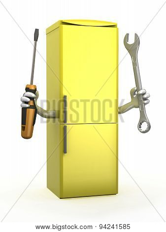 Refrigerator With Arms And Tools On Hands