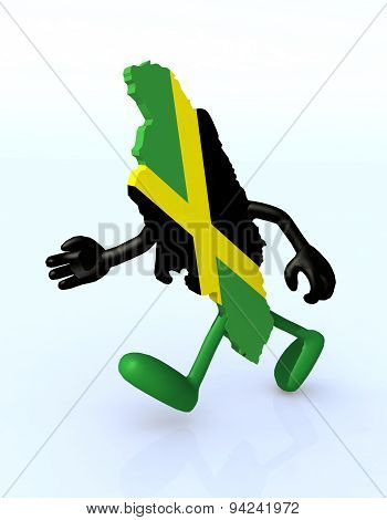 Map Of Jamaica With Arms And Legs Running