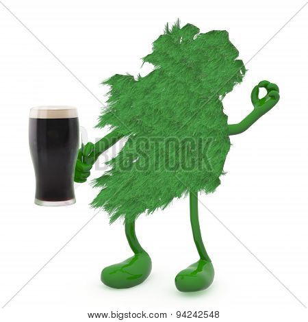 Ireland And Glass Mug Of Dark Beer