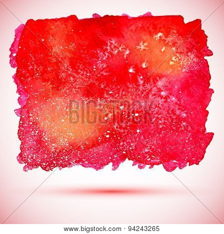 Vector Watercolor Cosmic Banner In Red Colors And With Shadow