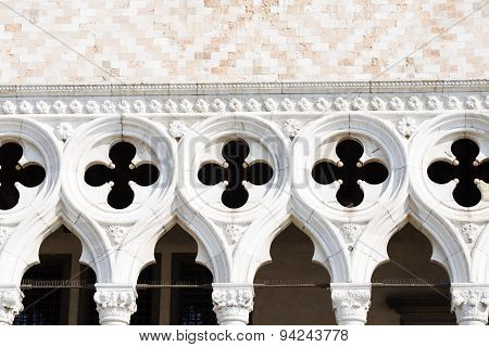 Detail Of Facade Of The Doge's Palace In Venice