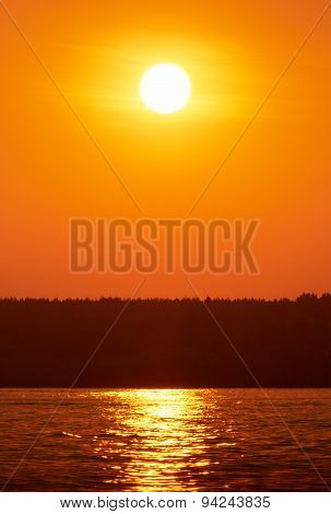 Sunset Or Sunrise Over The River
