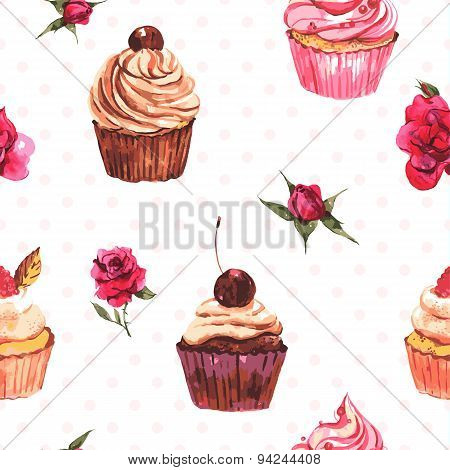 Watercolor vintage seamless background with cupcakes and flowers
