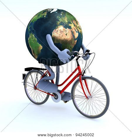 Planet Earth Riding A Bycicle