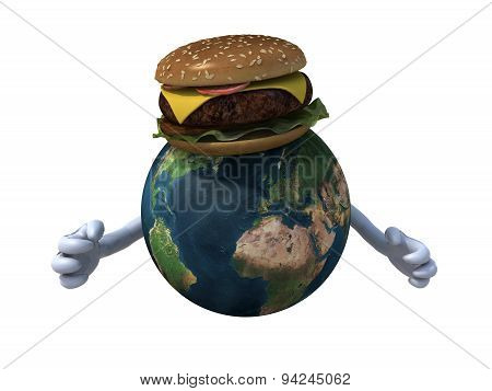 World With Hands And A Hamburger