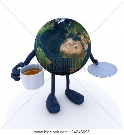 Planet Earth With Arms And Legs And Cup Of Coffee