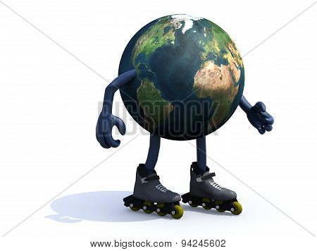 Earth With Arms, Legs And Rollerskates