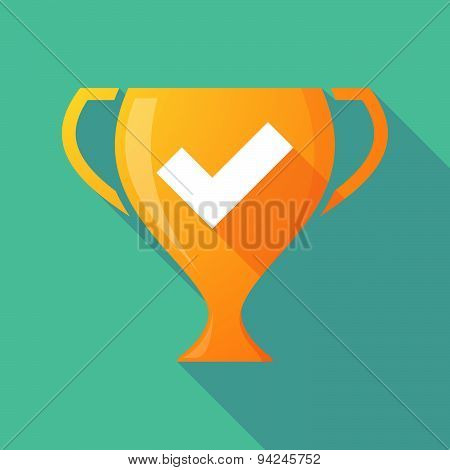 Long Shadow Trophy Icon With A Check Mark