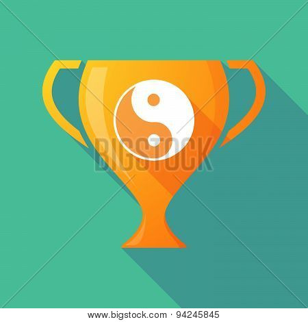 Long Shadow Trophy Icon With A Ying Yang