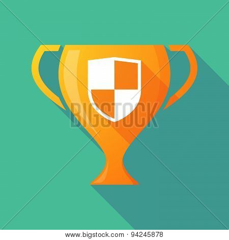 Long Shadow Trophy Icon With A Shield