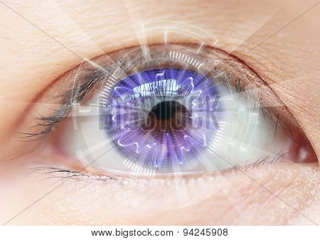 Close-up Women Eye Technology : Contact Lens