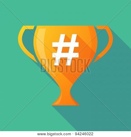 Long Shadow Trophy Icon With A Hash Tag