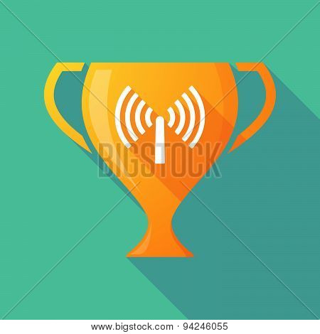 Long Shadow Trophy Icon With An Antenna