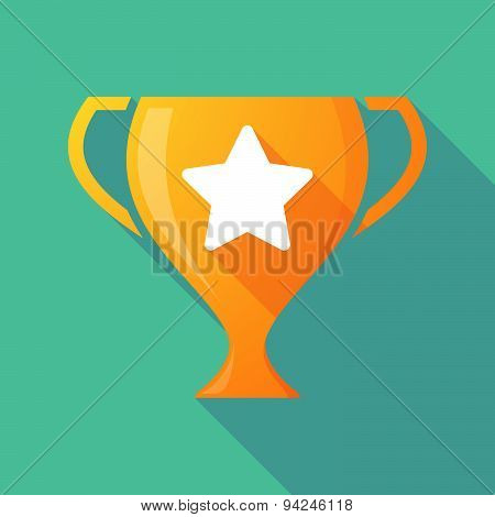 Long Shadow Trophy Icon With A Star