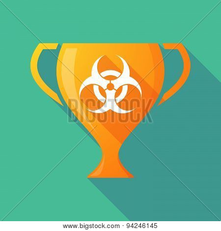 Long Shadow Trophy Icon With A Biohazard Sign