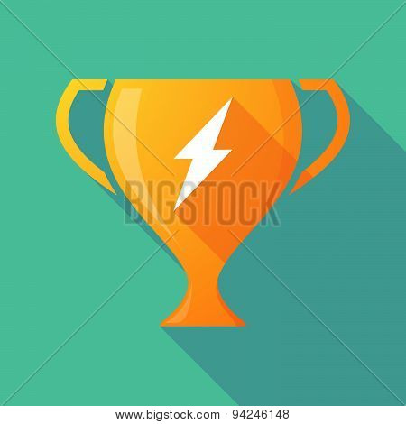 Long Shadow Trophy Icon With A Lightning