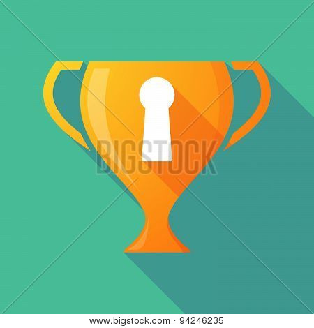 Long Shadow Trophy Icon With A Key Hole
