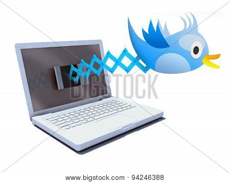 Blue Bird Tweets And Sings On Notebook