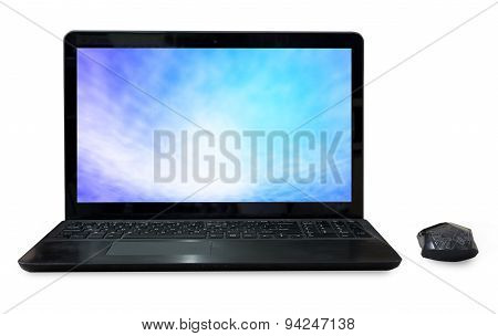 Black Labtop With Mouse Bluetooth And Sky Screen  Isolated White Background.