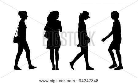 People Walking Outdoor Silhouettes Set 33