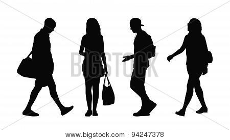 People Walking Outdoor Silhouettes Set 38