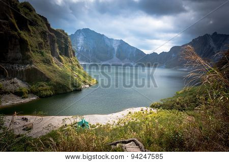 Beautiful Volcanic Lake In The Crater