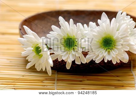 Three Gerbera in bowl with petals on mat
