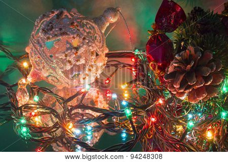 Christmas-tree Branch Pine Cone Candy Christmas Tree Toy Ball And Garland