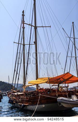 Sailboats Anchored On Harbor