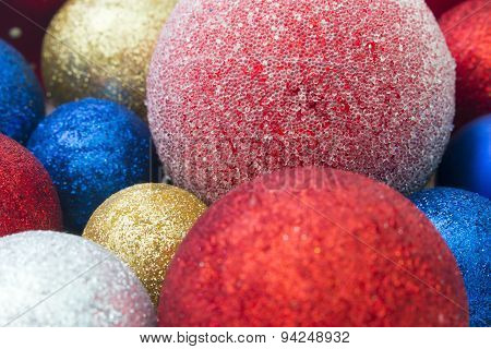 Multicolored Christmas Toys Closeup