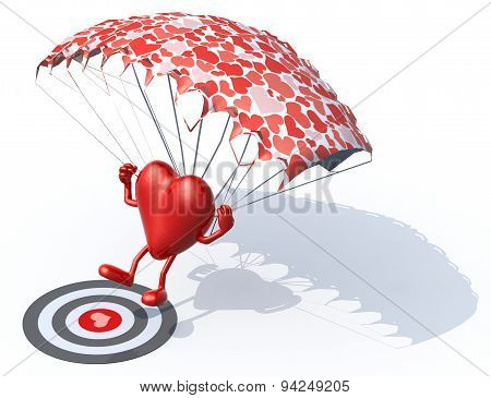 Heart That Is Landing With Parachute On A Targe