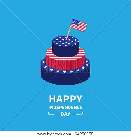 Cake With Star And Strip Flag Happy Independence Day United States Of America. 4Th Of July. Flat Des