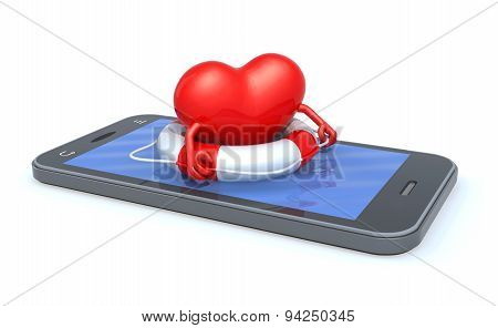 Heart That Swims On The Screen Of The Smartphone