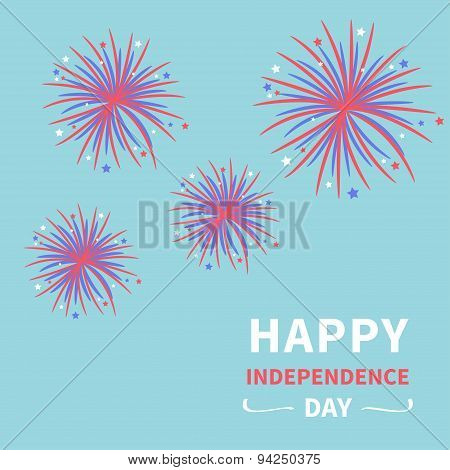 Happy Independence Day United States Of America. 4Th Of July. Fireworks Blue Background Star And Str