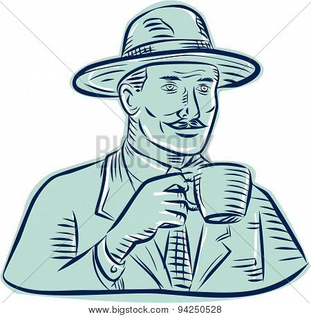 Man Fedora Hat Drinking Coffee Etching