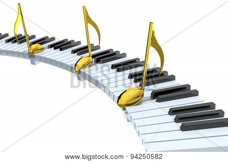 Piano Keyboard Abstract With Golden Musical Notes
