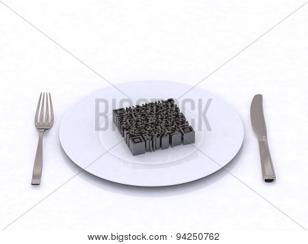 Qr Barcode On The Plate