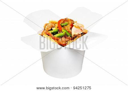 Chinese fast food dish in white paper box