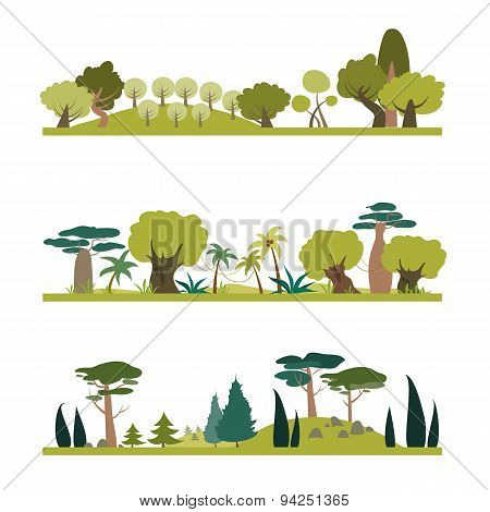 Set of different trees species