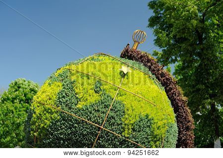 Topiary Globe Made Of Green Plants In Orel, Russia